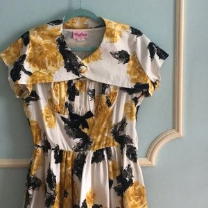 Pinup Couture Gold & Black Roses Dress w/ Bolero